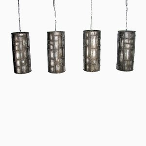 Brushed Iron Pendant Lights, 1990s, Set of 4