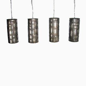Lampes à Suspension en Fer Brossé, 1990s, Set de 4