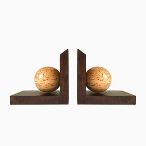 Art Deco Wooden Bookends, 1920s, Set of 2