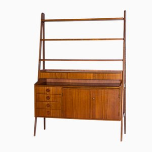 Vintage Scandinavian Wall Unit with Retractable Desk