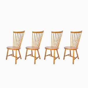 Windsor Pinewood Dining Chairs, 1960s, Set of 4