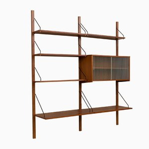Danish Teak Wall Unit with Glass Cabinet, 1960s