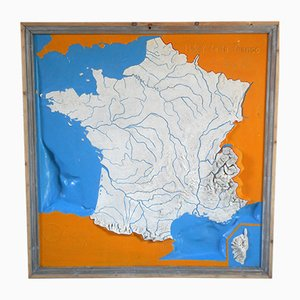 Vintage French Fiberboard Map by Henry Arnold for Elo, 1934