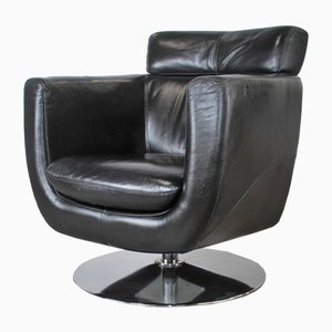 Leather Swivel Club Chair, 1980s