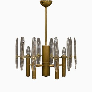 Brass & Crystal Glass Chandelier by Gaetano Sciolari, 1970s