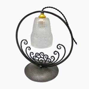 Französische Tischlampe aus Schmiedeeisen & Pressglas, 1930er
