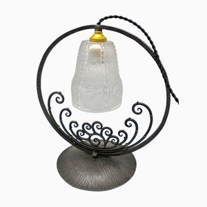French Wrought Iron & Pressed Glass Table Lamp, 1930s