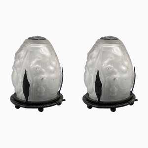 French Wrought Iron & Pressed Glass Art Deco Night Lamps from Muller Frères, 1930s, Set of 2