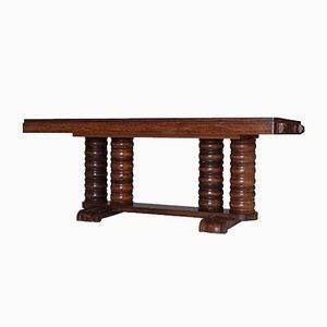 Tavolo da pranzo Art Déco in mogano di Gaston Poisson, anni '40
