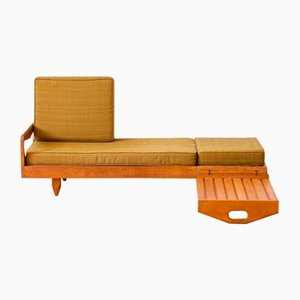 French Sofa with Adjustable Coffee Table by Guillerme and Chambron for Votre Maison, 1970s
