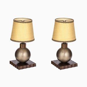 Lámparas de escritorio vintage de Edgar Brandt, años 30. Juego de 2