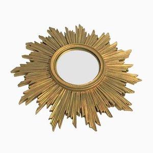 Espejo vintage en forma de sol dorado, años 60