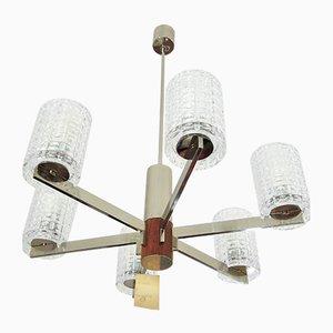 Mid Century Danish Teak Sputnik Pendant Lamp, 1970s