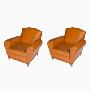 Leather Moustache French Club Chairs, 1950s, Set of 2