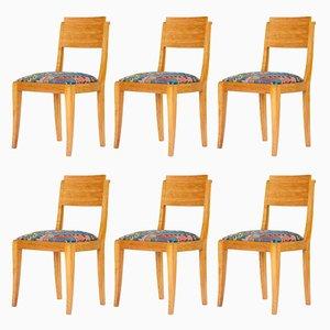 Art Deco Stühle von Gaston Poisson, 1940er, 6er Set