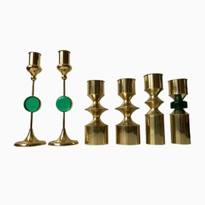 Danish Modern Brass & Glass Candleholders by Hejl Fredericia, 1970s, Set of 6