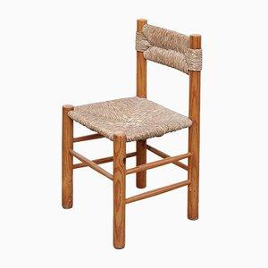 Französische Mid-Century Beistellstühle aus Rattan & Holz, 1950er, 2er Set