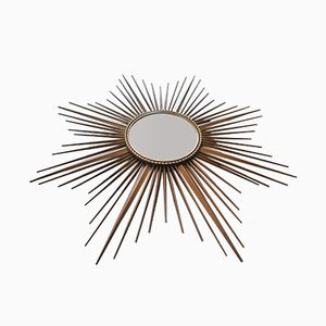 French Metal and Curved Glass Sun Mirror from Chaty Vallauris, 1960s