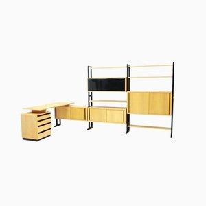 Schweizer Büro-Set aus Regalsystem und Schreibtisch von Alfred Altherr für Freba, 1950er