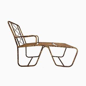 Chaise longue de jardín francesa Mid-Century de acero, años 50