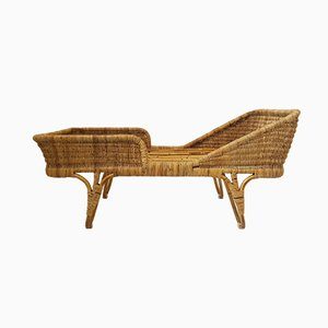 Mid-Century French Rattan Kid's Bed, 1950s