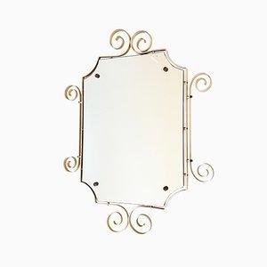 Espejo vintage de acero dorado, años 60