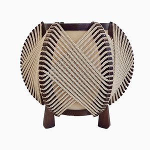 Lámpara de mesa francesa de madera y cuerda, años 70