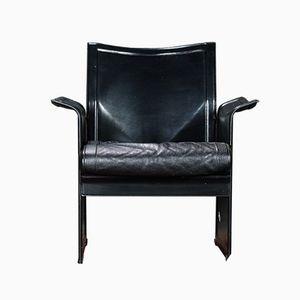 Black Leather Korium Armchairs by Tito Agnoli for Mateo Grassi, 1980s, Set of 2