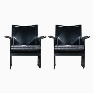 Black Leather Korium Armchairs by Tito Agnoli for Mateo Grassi, 1980s, Set of 2