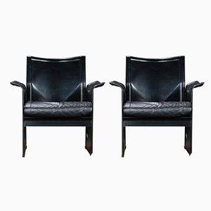 Schwarze Korium Armlehnstühle aus Leder von Tito Agnoli für Mateo Grassi, 1980er, 2er Set