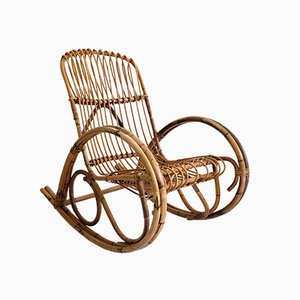 French Rattan and Bamboo Rocking Chair, 1960s