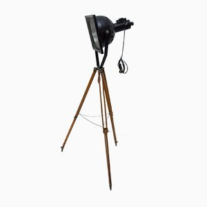 Black Enamel Industrial Spotlight Tripod Floor Lamps, 1970s, Set of 2