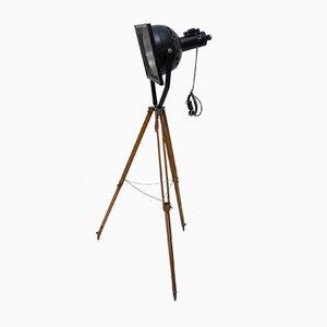Lámparas de pie foco industrial de esmalte negro, años 70. Juego de 2