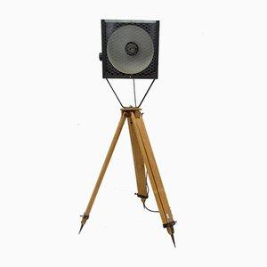 Black Enamel Industrial Spot Light Tripod Floor Lamps, 1970s, Set of 2