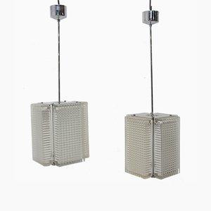 Lámparas colgantes de vidrio prensado para Napako, años 70. Juego de 2