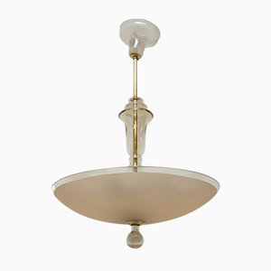 Art Deco Bohemian Glass Ceiling Lamp, 1930s