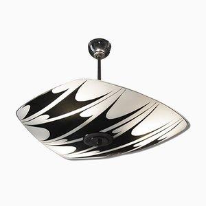 Lámpara de araña UFO redonda, años 60