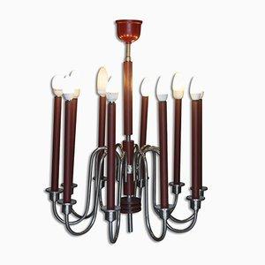 Lámpara de araña cromada de diez brazos, años 30