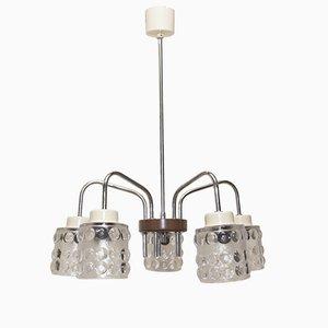Lámpara de araña Mid-Century de cristal tallado de 5 luces de Lidokov, años 60