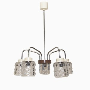 Mid-Century Cut Glass 5-Light Chandelier from Lidokov, 1960s