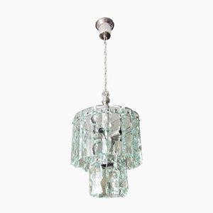 Lámpara de techo vintage de vidrio y metal cromado, años 60