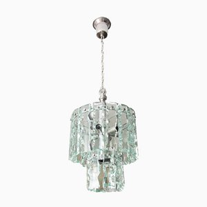 Vintage Glass & Chromed Metal Ceiling Lamp, 1960s