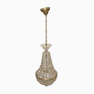 Lámpara de araña checoslovaca vintage de cristal, años 40