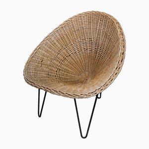 Wicker and Iron Lounge Chair, 1950s