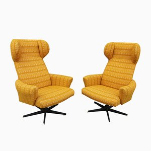 Wingback Swivel Chairs from Drevotvar, 1970s, Set of 2