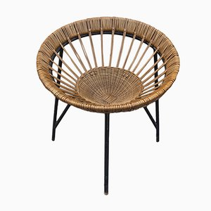 Mid-Century Wicker Lounge Chair