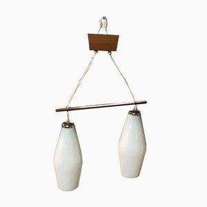 Lámpara de techo vintage de vidrio con dos luces, años 60