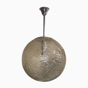 Lámpara colgante Mid-Century grande de vidrio congelado, años 60
