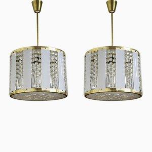 Lámparas de araña Mid-Century de cristal, años 60. Juego de 2