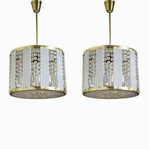 Mid-Century Crystal Chandeliers, 1960s, Set of 2